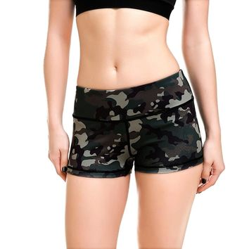JIGERJOGER 2018 Summer New camouflage 3d digital printing quick drying YOGA SHORTS Spandex Fabric Beach Running fitness shorts