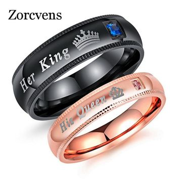 ZORCVENS Engraving Wedding Rings for Women Men Stainless Steel Matt Surface Anniversary Band Valentine Gift His Queen Her King