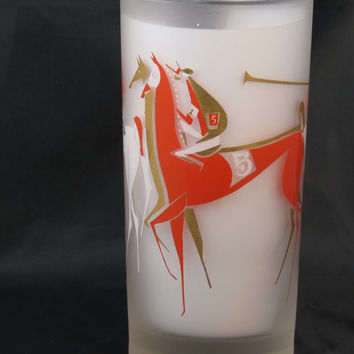 The Best of Mid Century Modern Horse Race Frosted Highball Drinking Glass