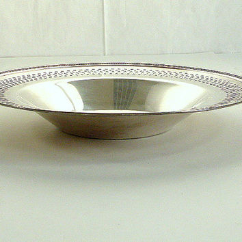 Vintage Round Silverplate Bowl, Dish Decorative Beaded and Punched Edge Candy Mint Dish 9 3/8 Inches Diameter 25th Wedding Anniversary