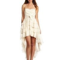 Teeze Me Juniors Strapless Tiered Chiffon Hi-lo Dress:Amazon:Clothing