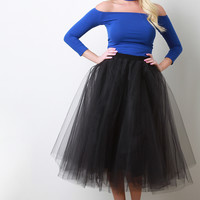 A-Line Soft Tulle Pleated Skirt