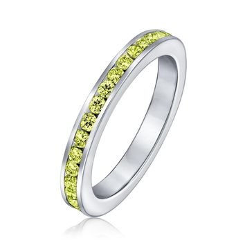 Cubic Zirconia Stackable CZ Eternity Band Ring Birthstone Colors