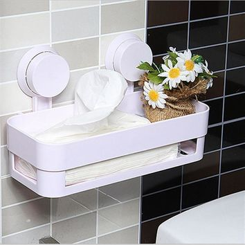 Sucker Edge Plastic Organizer Net Box Kitchen Sink Bathroom Shelf Storage Hanging Towel Holder Storage Rack Shower Wall Shelf