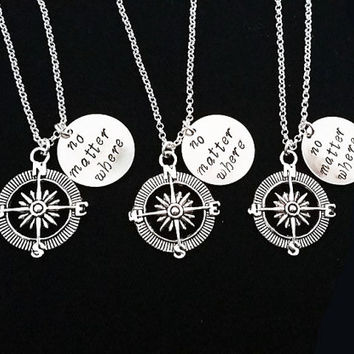3 best friend necklaces, three best friends, no matter where charm, compass necklace, Christmas gift, bff necklace friendship gift xmas gift
