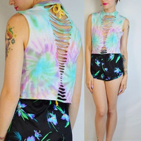 Pastel Tie Dye Crop Top Shirt Slit Slice Soft Grunge Hippie Boho Womens Handmade and Vintage Clothing Kawaii Grunge SeaPunk Pastel
