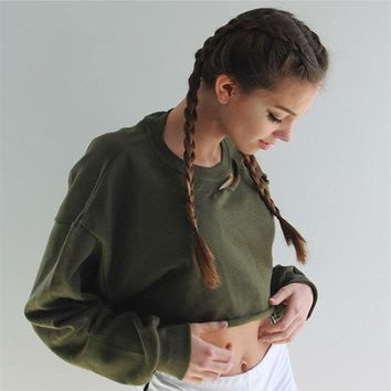Women Fashion Solid Color Hollow Ripped Long Sleeve Crop Tops Bat Sleeve Sweater