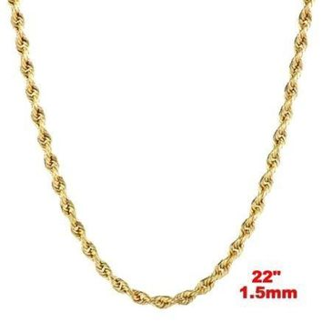 Italy 14k yellow gold layer on 925 Sterling Silver Classic Rope Chain- 1.5MM 22""