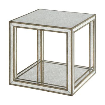Julie Contemporary Antique Mirrored Open Cube Accent Table by Uttermost