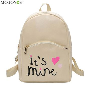 Preppy Style Women Backpack Letter Print Mini PU Leather Backpack Schoolbags for Teenage Girls Female Backpack Rucksack Mochilas