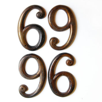 Vintage Antique Brass or Bronze House Number 6 or 9, SIX or NINE (single) E999-6
