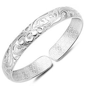 2016 New Ethnic Style Personalized Carving Flower Shape Bangles Silver Plated Charm Love Cuff Bracelets For Women Pulseiras