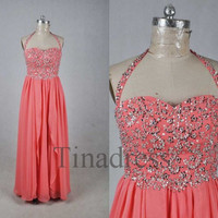 Custom Halter Coral Beaded Long Prom Dresses Bridesmaid Dresses 2014 Fashion Party Dresses Evening Gowns Evening Dresses Formal Wear