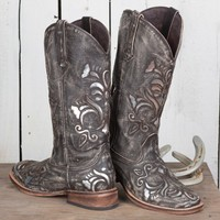 Brown Sanded Silver Inlay Boots
