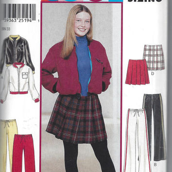 New Look 6120 Cool Pattern for Juniors' Pleated Skirt, Jacket, Pants, Junior Sizing 3/4 to 13/14, By Simplicity