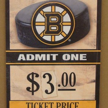 "BOSTON BRUINS GAME TICKET ADMIT ONE GO BRUINS WOOD SIGN 6""X12'' NEW WINCRAFT"