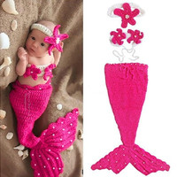 New Newborn Baby Crochet Knit Costume Photography Prop Outfit rose Red Mermaid Infant Girl Boy Soft