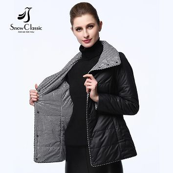 Snow Classic women spring jackets 2017 thin reversible parkas women quilted coat manteau femme autumn jackets 17321