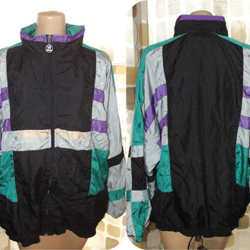 Vintage 80s Geometric Colorblock Windbreaker Jacket VENGO Lightweight Vaporwave Coat L/XL