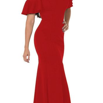 Cold-Shoulder V-Neck Mermaid Long Prom Dress Red