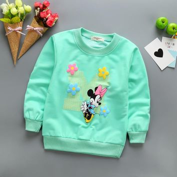 2018 New Arrival Baby Girls Sweatshirts Winter Spring Autumn sweater minnie  long sleeve T-shirt Character kids clothes