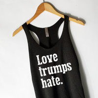 Love Trumps Hate Tank Top in Heather Black