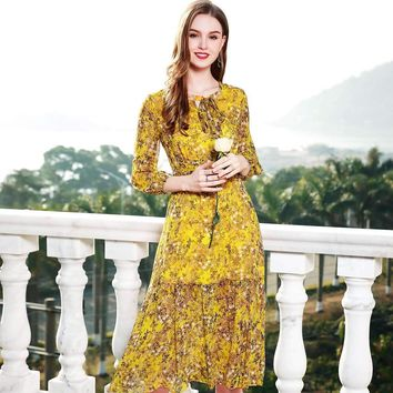 100% Silk Bohemian Dress Dress Lantern Sleeve Print Floral Yellow Women Midi Ruffles Dress