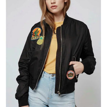 Top Shop Embroidery Cartoons Jacket [8069638663]