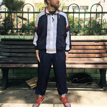1990's Complete Tracksuit by 10th Gear - Vintage Jacket / Pants - Fully Lined - Navy Blue, Red, & White - 90's Windbreaker Suit - Dope!