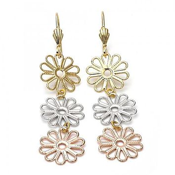 Gold Layered 5.089.014 Long Earring, Flower Design, Diamond Cutting Finish, Tri Tone