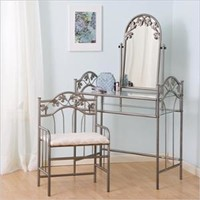 Walmart: Coaster Flower Pattern Vanity Table Set with Mirror in Nickel-Bronze Finish