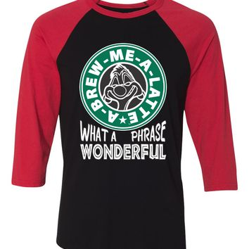 A-Brew-Me-A-Latte Disney Shirt for Women - Lion King Timon in Starbucks Style Logo - Adult Character Novelty Parks Graphic T-Shirt - Unique Themed Saying Tee - Raglan Jersey Tees Available