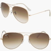 Ray-Ban RB3025 Aviator Large Metal Arista / Crystal Brown Pink GSM Sunglasses