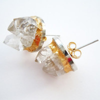 Raw Crystal Spike Earrings - Stud Earrings - Gilded Gold
