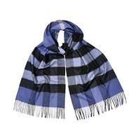 Burberry Giant Exploded Check Cashmere Scarf - Thistle Blue