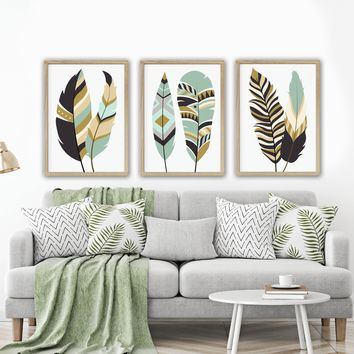 FEATHER Wall Art, Tribal Feather Art, Boho Feather Home Decor, Feather Living Room Artwork, Set of 3 Canvas or Print, Bedroom Pictures