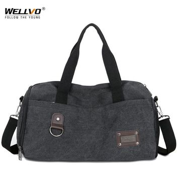 Men Travel Bag Canvas Black Luggage Duffel Bags Large Crossbody Shoulder Weekend Bag Men's Durable Brown Trip Handbag XA39WC