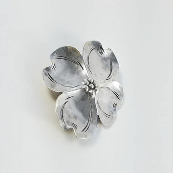 NYE Flower Brooch - Vintage Sterling Brooch - Dogwood Blossom Brooch - Mid Century Sterling Flower Brooch