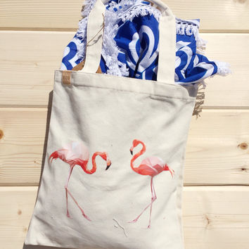 Eco Flamingos Canvas Shopping Tote