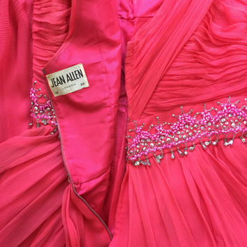 vintage silk dress 1960s coral pink ruched evening gown grecian goddess Frank Usher sparkly beaded princess maxi vintage wedding bridesmaid