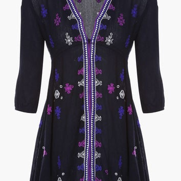 Black Embroidered Mini Dress