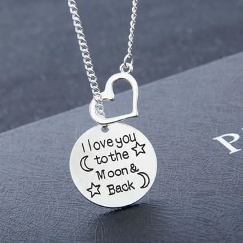 New Arriva I love You To Moon&Back Love Moon Star Necklace Romantic imaginative Jewelry Charm Lover Family Party Gifts