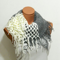 knitting machine infinity Scarf Block Infinity Scarf. Loop Scarf, Circle Scarf, Neck Warmer. White and grey infinity