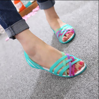 2016 Women Sandals 2016Summer New Candy Color Peep Toe Stappy Beach Valentine Rainbow croc Jelly Shoes Woman Wedges sandals