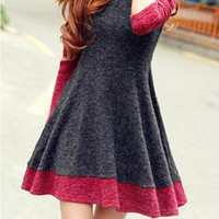 Spell Color Long-Sleeved Knit Dress