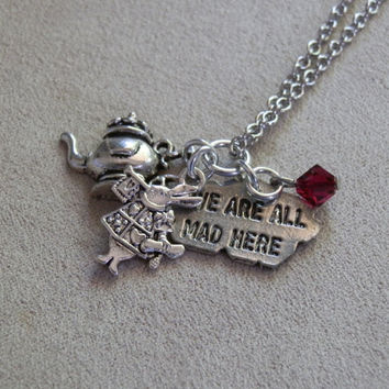 Necklace, Alice in Wonderland inspired, White Rabbit, Teapot, We Are All Mad Here Charms