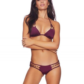 Beach Bunny Plum Ireland Ring Triangle Top & Skimpy Bottom Bikini Swimwear Set