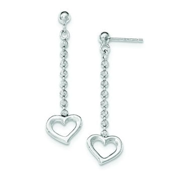 Sterling Silver Polished and D/C Beaded Heart Post Dangle Earrings QE11387