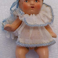 Antique Baby Infant Germany Bisque Doll 1920s Jointed in Linen Frock and Cap