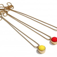 Red, Yellow and Blue Italian Vintage Button Pendant with a Long Brass Necklace!
